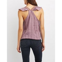 Crochet-Trim Surplice Racerback Tank Top