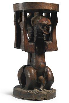 Songye-Luba Male and Female Caryatid Stool, Democratic Republic of the Congo | Lot | Sotheby's