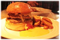 Review of Restaurants: PlanB, Bangalore  Don't be a Chicken Burger  2 sinful patties of chicken in between the bun, mango mayonnaise and potato wedges on the side
