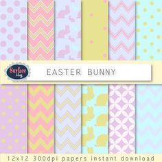 Easter+Digital+paper+EASTER+BUNNY+candy+paper+Rabbit+by+SurfaceHug,+$1.40
