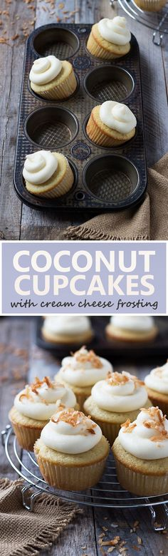 Coconut Cupcakes with Cream Cheese Frosting | cookingatsabrinas.com @sabrinascooking