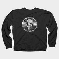 Skull Listening To Music Crewneck By ElArrogante Design By Humans Ringer Tee, Listening To Music, Hoodies, Sweatshirts, Neck T Shirt, Tank Man, Long Sleeve Tees, Crew Neck, Skull