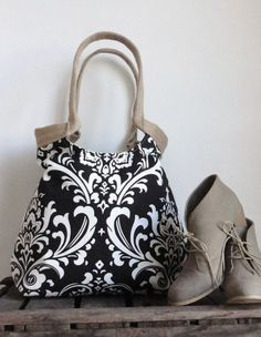 Black white Damask carry on hobo bag with burlap by madebynanna, $65.00
