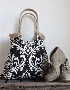 Black white Damask carry on hobo bag with burlap by madebynanna, $65.00