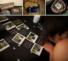 Super cute and unique wedding guest book, have guests take a polaroid of themselves and add it to a scrapbook!