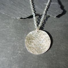Disc Pendant in Hammered Sterling Silver #jewellery #jewelry #pendant #necklace