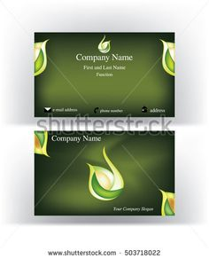 Business #card with abstract #logo symbol resembling the #interior of an #apricot or #avocado