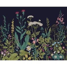 This botanical wall mural is a sight for sore eyes. Vibrant shades of teal, pink, purple, and green come together in a vintage floral illustration. Printed on nonwoven material Paste not included Comes with 6 panels Measures 9ft 10in x 7ft 10in when assembled This product is non-returnable