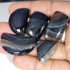 Christmas sale 141.35cts. Black Banded Agate Rough 4 Pec Lot  Loose Gemstone #Handmade