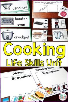 Students learn life skills with this cooking unit. Vital vocabulary is taught and reinforced through word wall cards, hands on tasks and worksheets. This unit is ideal for special education classes, life skills programs, students with autism and self-contained programs.