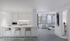 Oversized casement windows enhance light and herringbone oak floors Tidy Kitchen, Kitchen And Bath, Kitchen Ideas, Nyc Studio, Luxury Condo, Casement Windows, Pent House, Contemporary Interior, Cool Kitchens