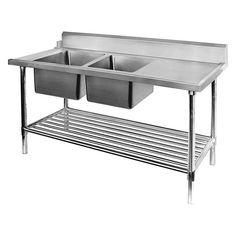 Compartment Commercial Stainless Steel Triple Sink Wash Basin - Stainless steel dishwasher table