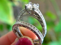 Kirk Kara Engagement ring at Diana Jewelers near Syracuse, New York. Antique styled engagement ring.