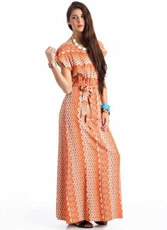 tribal print tie-waist maxi dress  $42.60