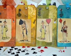 Queen of Spades Handmade Tag, Bookmark, Gift Card Holder: Four Queens Available - Edit Listing - Etsy