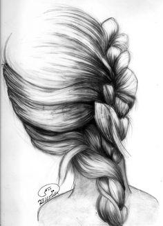 braid :D #black #white #sketch #art #braid #hair