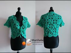 how to crochet bolero shrug with motifs free pattern tutorial by marifu6a - YouTube Authoress offers a lot of videos re these enticing garments