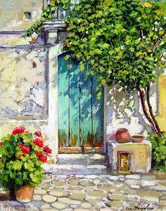 Wood Door - Calabria Italy ~ Francesco Mangialardi Italy Painting, House Painting, Watercolour Paintings, Original Paintings, Watercolor Art, Painting & Drawing, Painted Doors, Wood Doors, Landscape Art