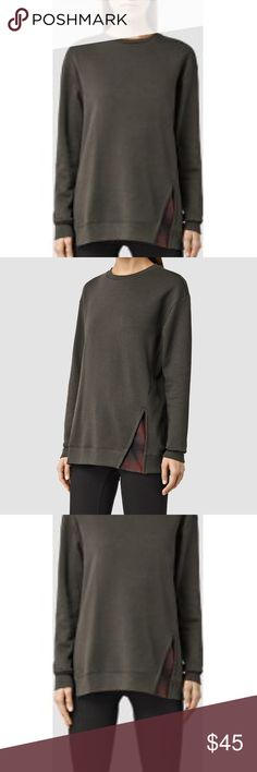 AllSaints women's sweatshirt Solo Check Sweat  ✔️63% Portuguese Cotton ✔️37% Modal ✔️Deep dusty green with brown check detail  I recommend all products produced by Allsaints be dry cleaned for best outcome. All Saints Tops Sweatshirts & Hoodies