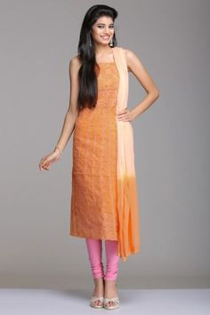 Orange And Peach Unstitched Cotton Suit With Floral Vine Chikankari Embroidery
