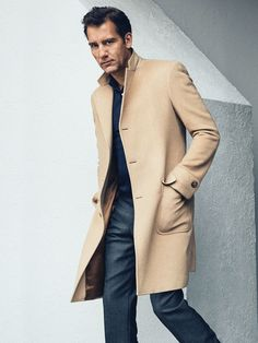 A menswear color mix that always works: camel and charcoal.