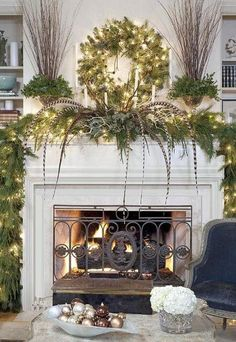 A mantel similar to our Albertville decorated in a grand fashion for Christmas Interior Decorating, Interior Home Decoration, Interiors, Apartment Design, Home Improvement, Inredning
