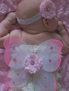 baby butterfly costume | Pink Baby Butterfly Costume... Butterfly Wings..pettiromper and headb ...
