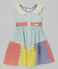 Poco & Picotine Green Flower & Check Lace-Collar Dress - Toddler & Girls   zulily