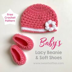 Free Crochet Pattern Lacy Baby Beanie with Flower and Baby Booties Soft Shoes (for newborn baby shower nursery sweet cute easy gift) Crochet Baby Hat Patterns, Baby Girl Crochet, Baby Blanket Crochet, Baby Patterns, Crochet Hats, Crochet Turban, Sweater Patterns, Crochet Flower, Baby Girl Beanies