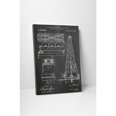 Patent Prints 'Drilling Rig' Gallery Wrapped Canvas Wall Art