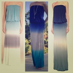 """YOUNG FABULOUS BROKE strapless blue ombré maxi YFB stretch-jersey maxi dress. Style called """"Sydney.""""  Elasticated chest and waist - extra long and incredibly comfortable! Color is middle one on first pic. Perfect Resort wear, slip on when heading to the pool or beach or brunch! Great with sandals - from flip flops to strappy heels! Wow them all during Spring Break or your exciting summer trip! Young Fabulous & Broke Dresses"""