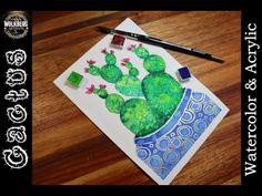 Easy Watercolor Cactus for Beginners | Watercolor & Acrylic | Relaxing | - YouTube