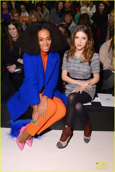 53c4135a8dbc2 Front row divas: Solange Knowles and Anna Kendrick held court at the Milly  By Michelle Smith runway show at Mercedes-Benz Fashion Week Monda.
