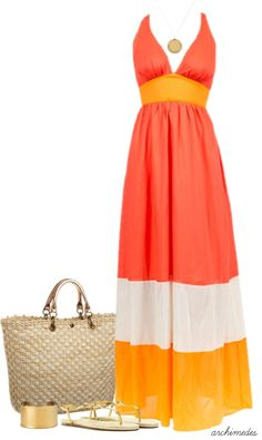A fashion look from April 2013 featuring beach maxi dress, metallic sandals and blue nile jewelry. Browse and shop related looks. Dress Outfits, Casual Outfits, Cute Outfits, Fashion Outfits, Spring Summer Fashion, Spring Outfits, Mode Collage, Cute Dresses, Summer Dresses