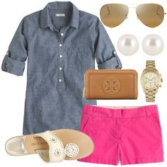 """Chambray shirt & colorful bright pop of color shorts"""