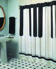piano bathroom shower curtain