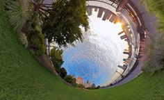 n his Alternative Perspectives series, photographer and filmmaker Randy Scott Slavin creates surreal images of the world around him. He has figured out ways to distort a normal landscape into a magnificent swirl of circular patterns. The foundation of the landscape is always visible but he takes up to one hundred pictures to build the final, distorted scenes.