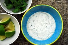 Dipping Sauce for Sweet Potato Fries -  sour cream, mayo, lime, cilantro, garlic, cumin, and salt