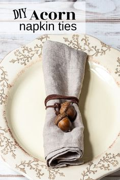 These handmade natural acorn napkin ties are easy to make and create a beautiful place setting for your fall table decor.