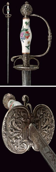 A fine small-sword with porcelain grip:    provenance: Germany dating: 18th Century