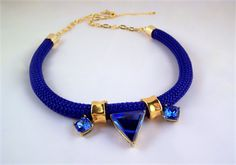 Navy and gold rope statement necklace sapphire swarovski crystal | JellyBean Designs | madeit.com.au #jellybeandesigns