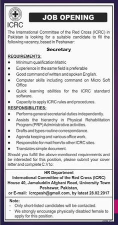 Job Opening: ICRC Peshawar Office Last Date to apply: 28-02-2017 #ICRC #Jobs #Secretary #Peshawar #KPK