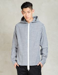 CLOT Navy Striped Zip Up Hoodie Shirt Model Picture