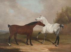William Barraud (British, 1810-1850) Two horses nipping