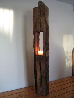 Windlicht Designer - Kerzenständer Eichenbalken ANTIK