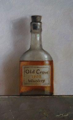 Original Oil Painting - Old Crow Whiskey - Vintage/Retro Still Life Art - Nelson