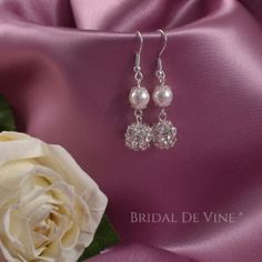 Made using Diamante encrusted beads, Silver prong claws and Swarovski Glass Pearls mounted onto Silver Plated or Sterling Silver hooks. Bridesmaid Flowers, Bridesmaids, Bridal Earrings, Pearl Earrings, Flower Girl Jewelry, Flower Girls, Wedding Accessories, Silver Plate, Swarovski