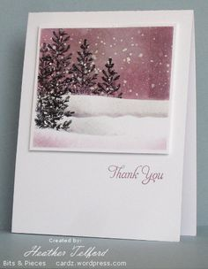 snow falling paint splatter.... love the rosy color, very unusual.... Lovely as a Tree card by Heather Telford