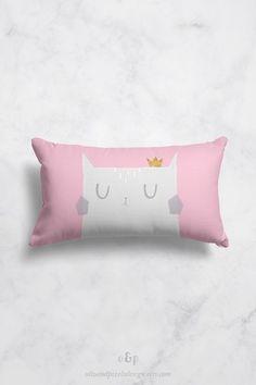 Cat pillow case cover, kids cushion, cat cushion cover, toddler pillowcase, baby girl nursery decor, cute throw pillow, throw pillow cover