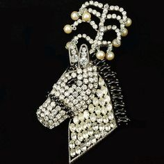 Christian Dior by Henkel and Grosse Diamante Onyx and Pearls Circus Horse's Head Pin